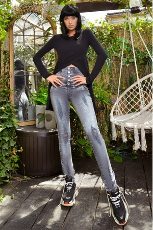 Bluza dama casual lunga in spate HOT AND BLACK TODAY Neagra