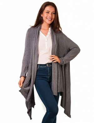 Cardigan dama lung in colturi Midnight Walk Grey