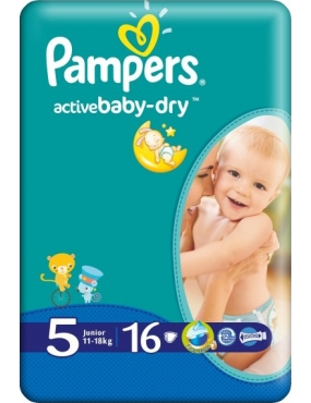 Pampers 5 Active Baby 11-18kg x 16buc