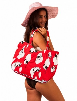 Geanta De Plaja Cow In Love Red White