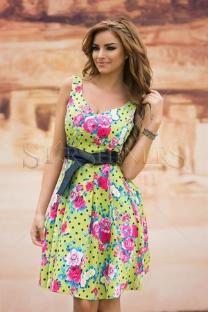 Rochie LaDonna Floral Dots Green
