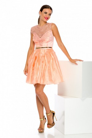 Rochie tip baby doll din tull si broderie Larise Peach