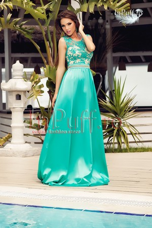 Rochie de seara lunga cu broderie si voal satinat turquoise Atmosphere