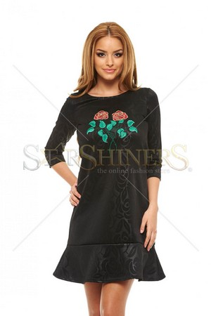 Rochie StarShinerS Brodata Rose Fashion Black
