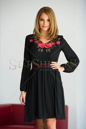 Rochie LaDonna Flowered Chest Black